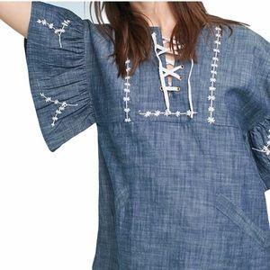 Banjanan Denim Embroidered Lace-up Top Blue medium